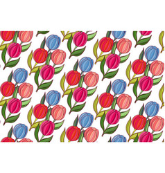 seamless background woth spring flowers of tulips vector image vector image