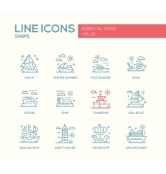 Ships - line design icons set vector image