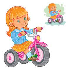 small girl ride tricycle vector image vector image