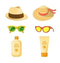 Sun balm glasses and hats vector