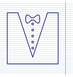 Tuxedo with bow silhouette navy line icon vector