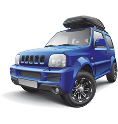 Asian off road mini suv with roof bag vector