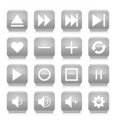 Gray media sign rounded square icon web button vector