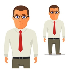 Man in white shirt with red tie cartoon character vector