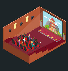 Cinema movie interior auditorium isometric view vector