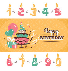 Birthday greeting card with big cake vector
