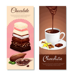 Chocolate vertical banners set vector