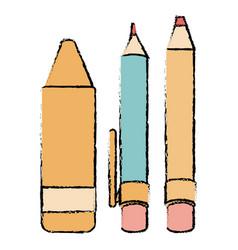 pen school with pencil and crayon vector image