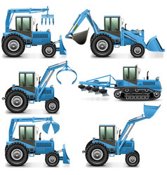 Agricultural Tractor Set 3 vector image