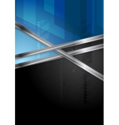 Blue and black tech background with metal stripe vector