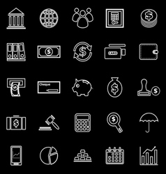 Banking line icons on black background vector image