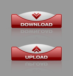 Download and upload buttons vector