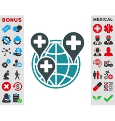 Global clinic company icon vector
