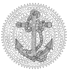 Hand drawn of an anchor and rope vector
