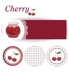 Set of rectangular and round stickers for cherry vector