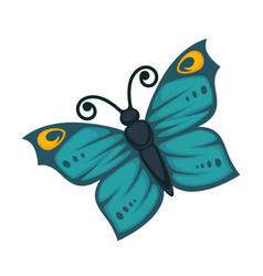 Amazing blue butterfly with yellow pattern and vector