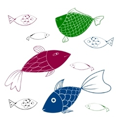 Aquarium Fishes - set of icons vector image vector image