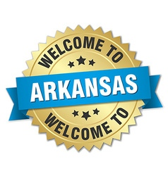 Arkansas 3d gold badge with blue ribbon vector