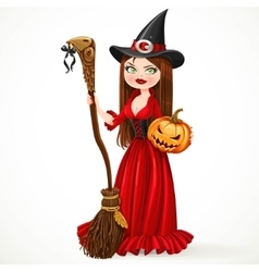 Beautiful witch in a red dress holding a broom for vector image vector image