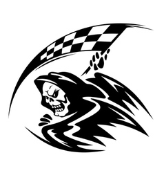 Black danger death demon with ckeckered flag vector image