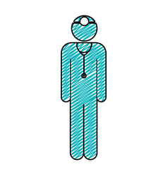 Color pencil drawing of pictogram male surgeon vector