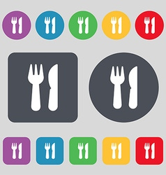 Crossed fork over knife icon sign a set of 12 vector