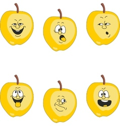 Emotion cartoon yellow apple set 018 vector image vector image