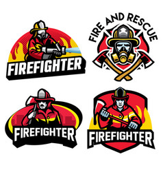 Firefighter badge design set vector