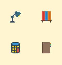 flat icons desk light contact bookshop and other vector image vector image