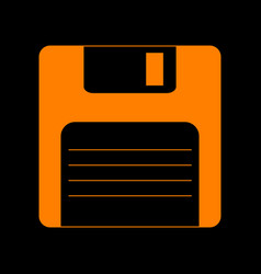 Floppy disk sign orange icon on black background vector