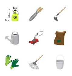 Garden items icons set cartoon style vector image