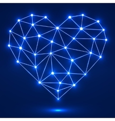 Geometric heart with glowing dots and lines vector