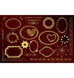 gold decorative frames vector image vector image