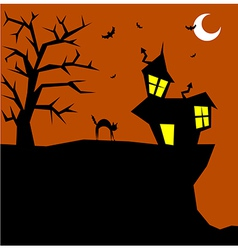 Halloween cat on a scary background vector image vector image