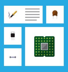 Icon flat electronics set of mainframe transistor vector