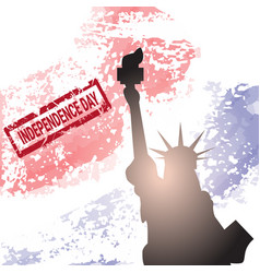liberty statue over united states flag colors vector image