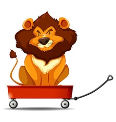 Lion sitting on the red cart vector