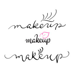 makeup text on white background vector image vector image