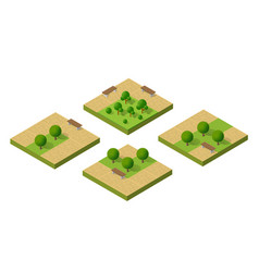 natural ecological landscape isometric set icon vector image vector image