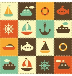 Patchwork background with sea transport vector