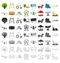 play garden set icons in cartoon style big vector image vector image