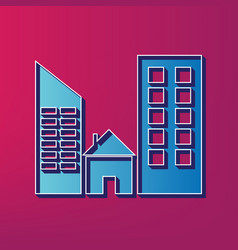 Real estate sign blue 3d printed icon on vector