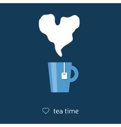 Tea with heart steam vector