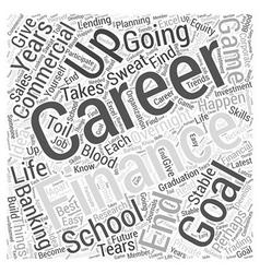The career goal in finance word cloud concept vector