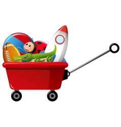 Toys in red wagon vector