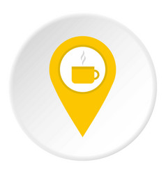 Yellow map geo tag with tea or coffee cup icon vector
