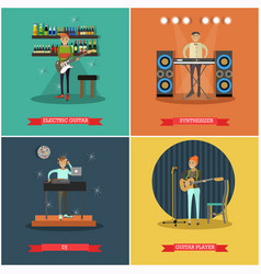Set of musical instruments concept posters vector