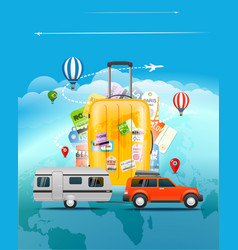 Travel concept travel bag and different touristic vector
