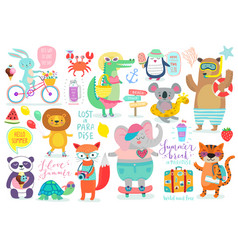Animals hand drawn style vector