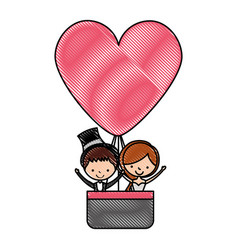 Married couple traveling in balloon avatar vector